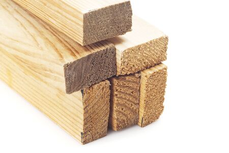 forestry industry: Wood planks on a white background