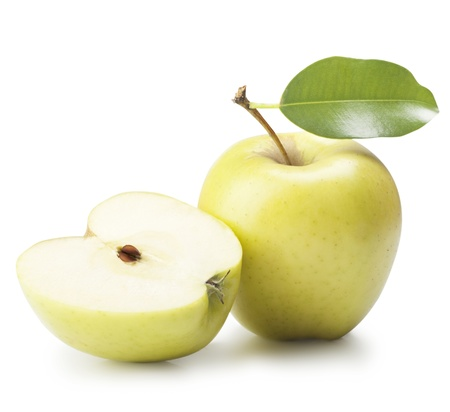 Ripe apple with slices on white background