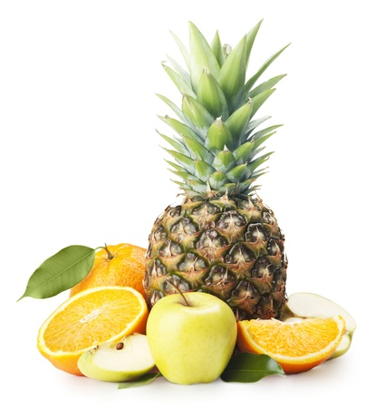 lowfat: Pineapple, apples and oranges on a white background