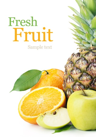 nonfat: Pineapple, apples and oranges on a white background