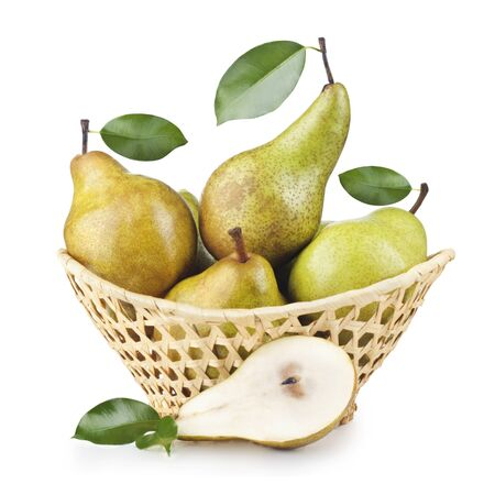 Pears In A Basket On White Background  photo