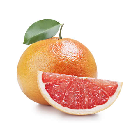 fresh grapefruit with leaves isolated on white background  photo
