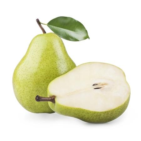 rijpe peren geïsoleerd op witte achtergrond Stockfoto
