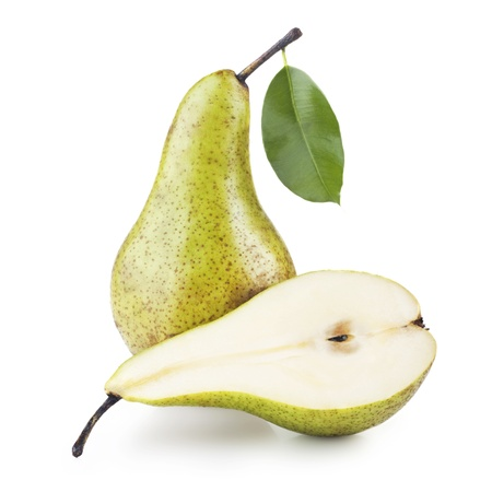 熟梨被隔絕在白色背景 版權商用圖片