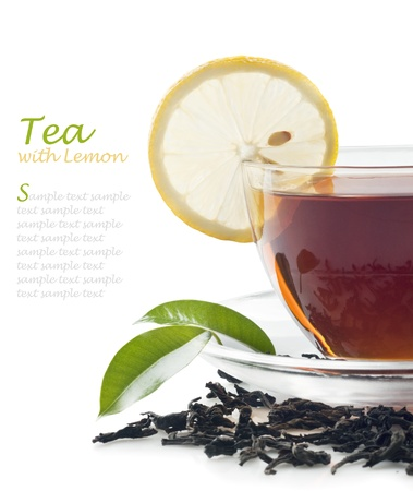 Hot black tea with lemon Stock Photo - 13042168