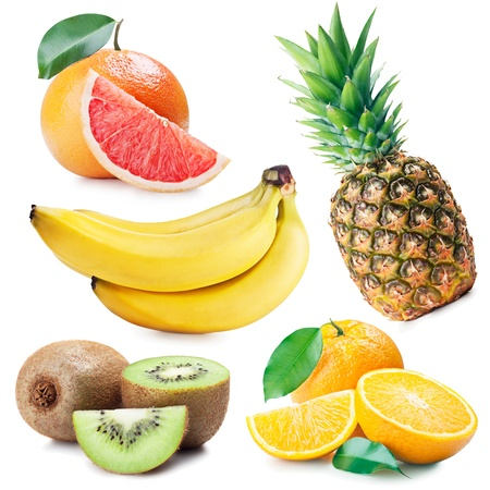 collection of fruits on white background photo