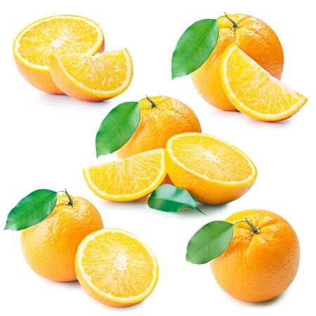 set of fresh orange fruits with cut and green leaves isolated on white background  photo