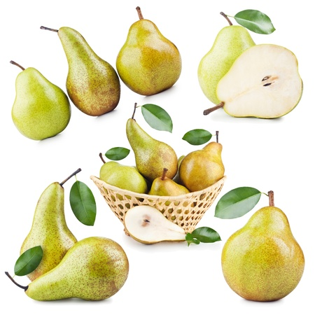 Set of Ripe Pear Fruits Isolated on White Background  photo
