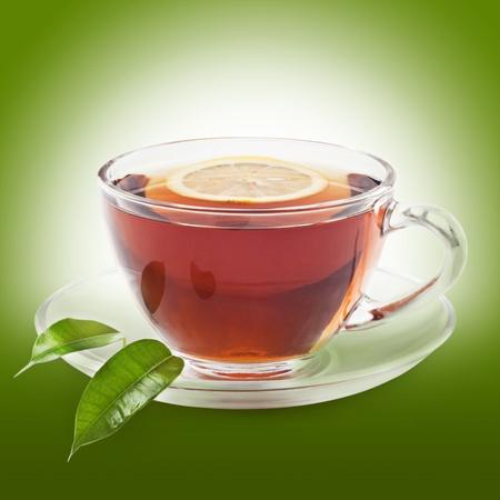 chinese herbal: Hot black tea with lemon Stock Photo