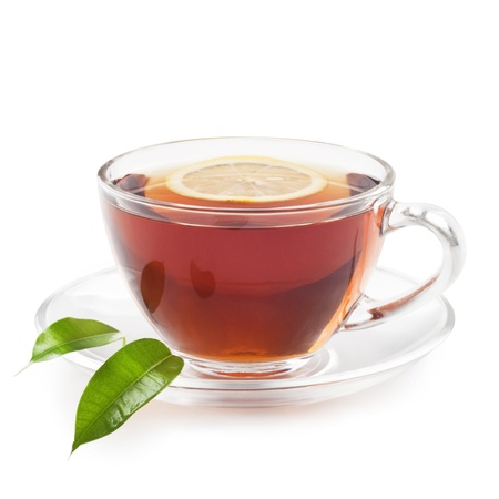 Hot black tea with lemon photo