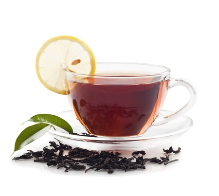 Hot black tea with lemon Stock Photo