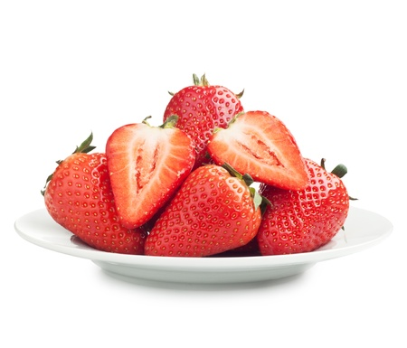 Fresh ripe strawberries on a plate photo
