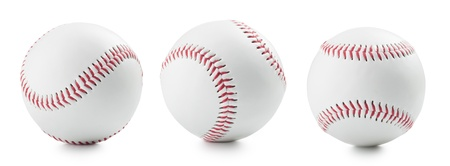 three baseball ball on a white background photo