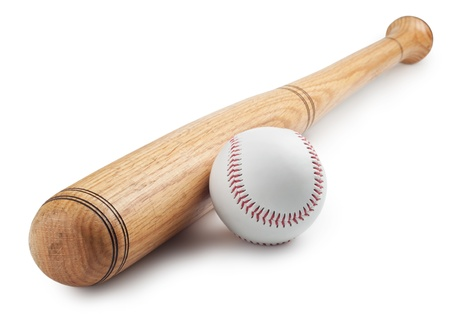 Baseball and baseball bat on white background