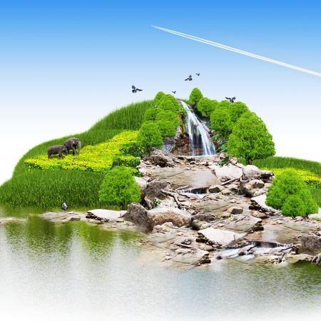 island with vegetation and a waterfall