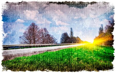 Country road in grunge and retro style.  photo