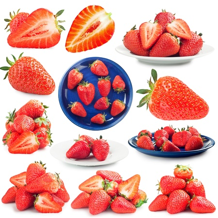 collection of pictures of strawberries on a white background photo