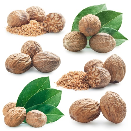 muscat: collection of photos of nutmeg on a white background