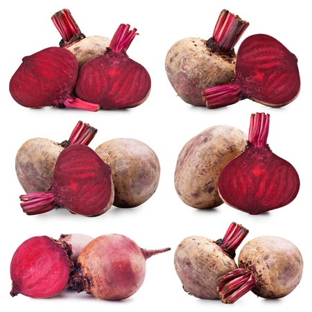 collection of photos of beets on a white background photo