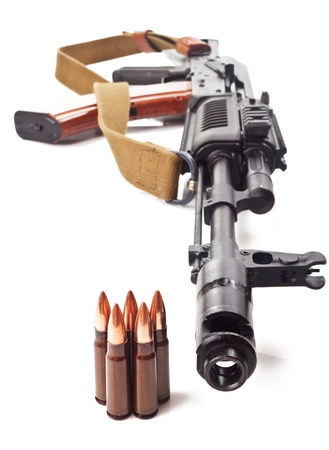 background with the cartridges and the AK47 Stock Photo - 13825963