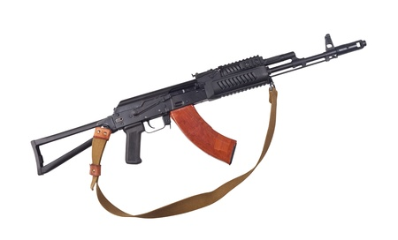 Kalashnikov gun isolated on white background. Stock Photo