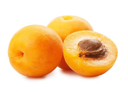 apricot jam: Apricots on a white background Stock Photo