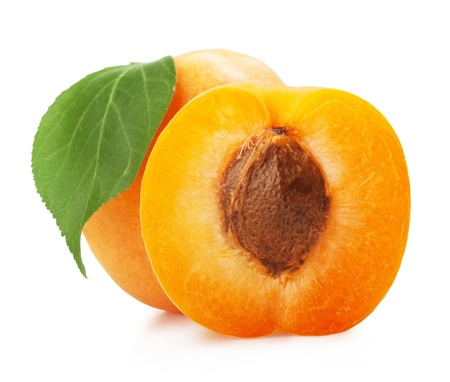 apricot jam: Apricots with leaves on a white background
