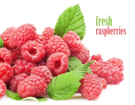 Fresh raspberry with green leaf on white background  photo