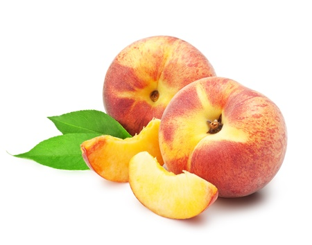 Ripe peach fruit with leaves and slises on white background