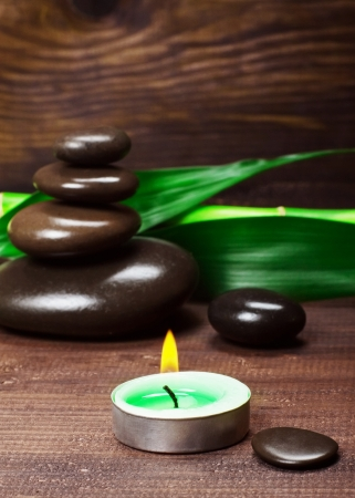 Spa still life with zen stone and bamboo  photo