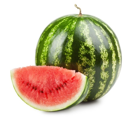 Ripe sweet watermelon isolated on white  photo