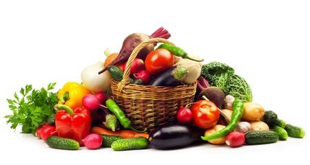 白の背景に新鮮な完熟野菜 写真素材