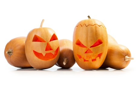 hollows: emotional halloween pumpkins isolated on white background.