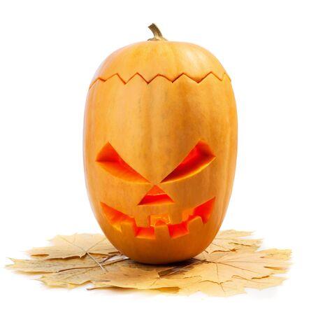 emotional halloween pumpkin isolated on white background Stock Photo - 15793359