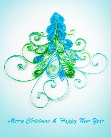quilling: Quilling. Christmas tree made of paper strips