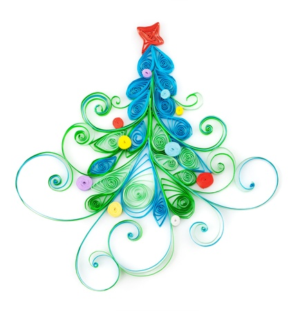 Quilling. Christmas tree made ​​of paper strips photo
