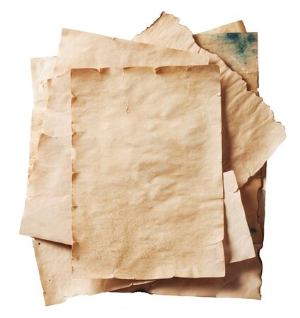 tattered: stack of old papers on a white background