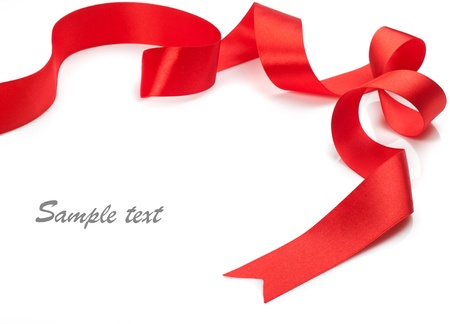 Beautiful red gift ribbon on a white background  Stok Fotoğraf