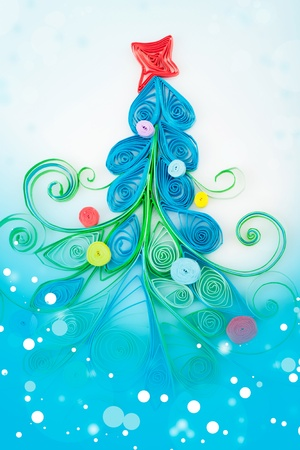 quilling: Quilling. Christmas tree made of paper strips Stock Photo