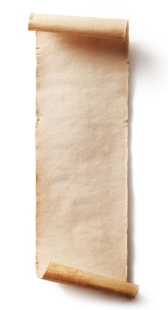 羊皮紙の背景は白で隔離されるのビンテージ ロール