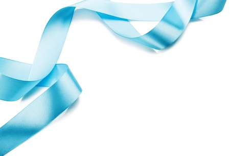 curling: Beautiful blue gift ribbon on a white background  Stock Photo