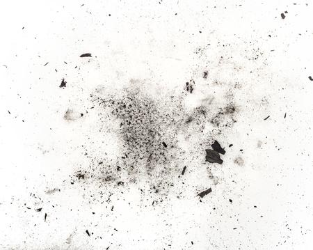 deeltjes van kool op een witte achtergrond. Placer cosmetica Stockfoto