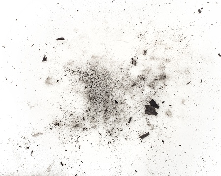 particles of charcoal on a white background. Placer cosmetics photo