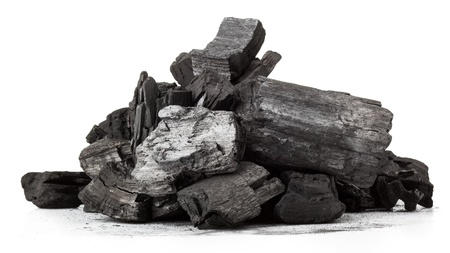 Piece of fractured wood coal isolated over white background 免版税图像 - 16483989