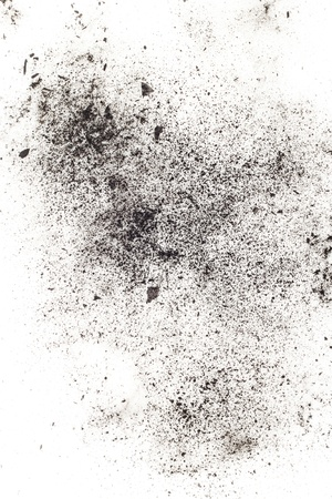 exploitation: particles of charcoal on a white background. Placer cosmetics