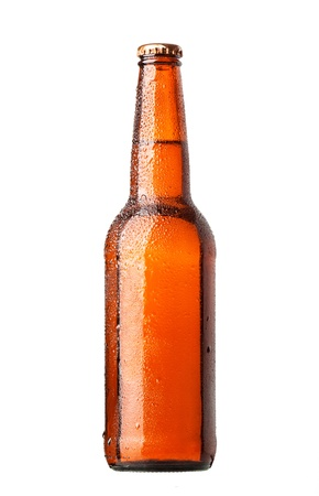 dewed: Bottle of beer with drops on white background Stock Photo
