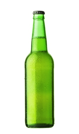 Bottle of beer with drops on white background Stock Photo - 16575835