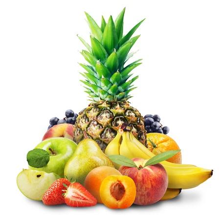 Assortment of exotic fruits isolated on white Stock Photo - 16800705