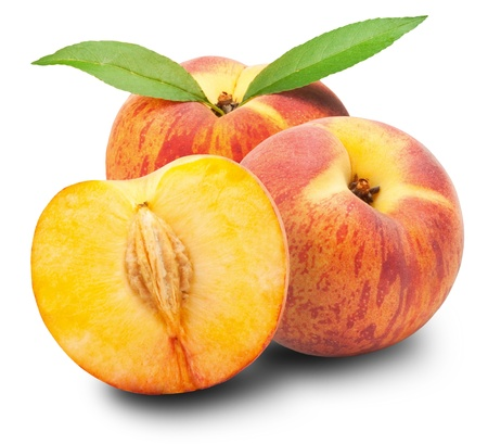 Ripe peach fruit with leaves and slises on white background  Standard-Bild