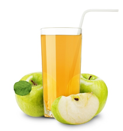 Apple juice and slices of orange isolated on white photo
